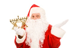 Santa Confused by Menorah